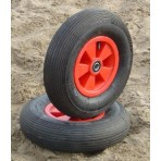 Airwheel 400x100mm (15.7x4 in) - grooved tire - grooved ball bearing 20mm (0.8 in), red plastic rim